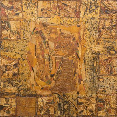 Komposition 80x80 Öl auf Leinwand, gemischte Technik