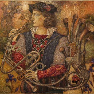 Florentine motif 80 x 90 Öl auf Leinwand, gemischte Technik